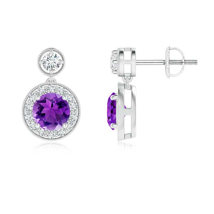 Angara Round Amethyst Front-Back Drop Earrings with Diamond Halo SHRcBE