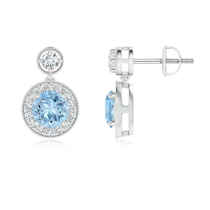 Angara Aquamarine Diamond Halo Earrings in Platinum LpIkJBt