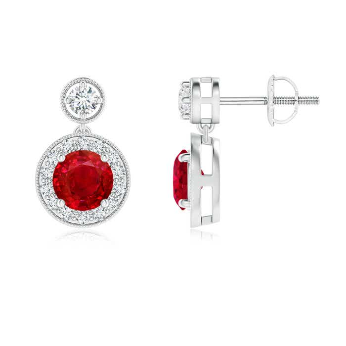 Angara Milgrain-Edged Ruby and Diamond Halo Dangle Earrings in Platinum