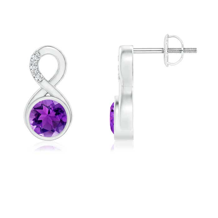 Angara Amethyst Infinity Drop Earrings with Diamond in Rose Gold