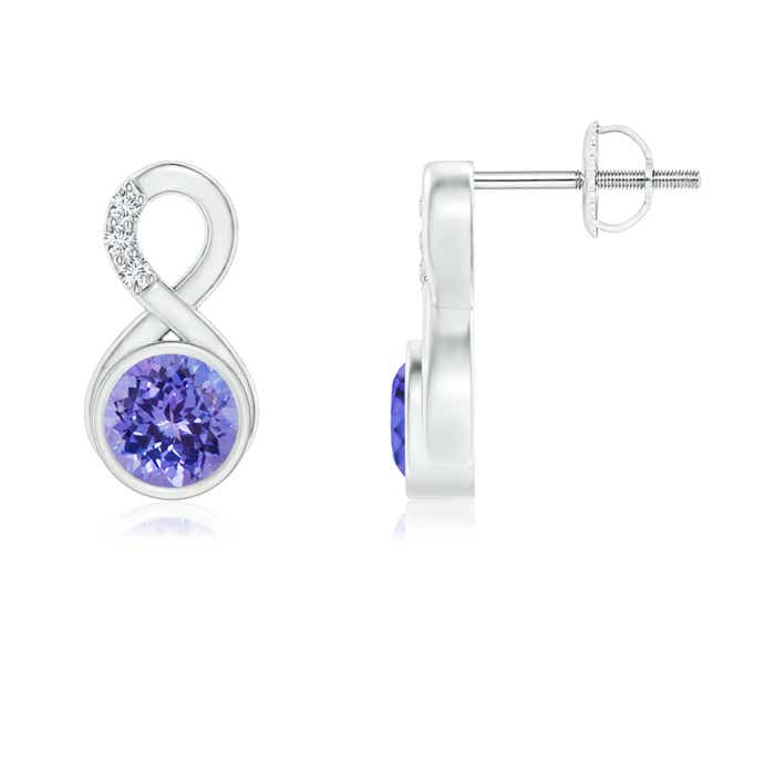 Angara Bezel-Set Tanzanite and Diamond Halo Stud Earrings in White Gold rHdO0b