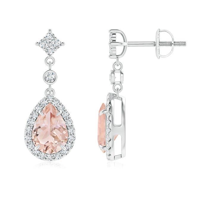 Angara Cushion Morganite Halo Earrings with Diamond Clusters 3l5GPFYONh
