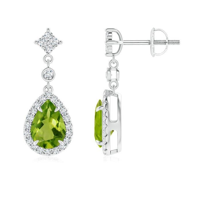 Angara Diamond Halo Claw Oval Peridot Dangle Earrings in Platinum QnpOoF9