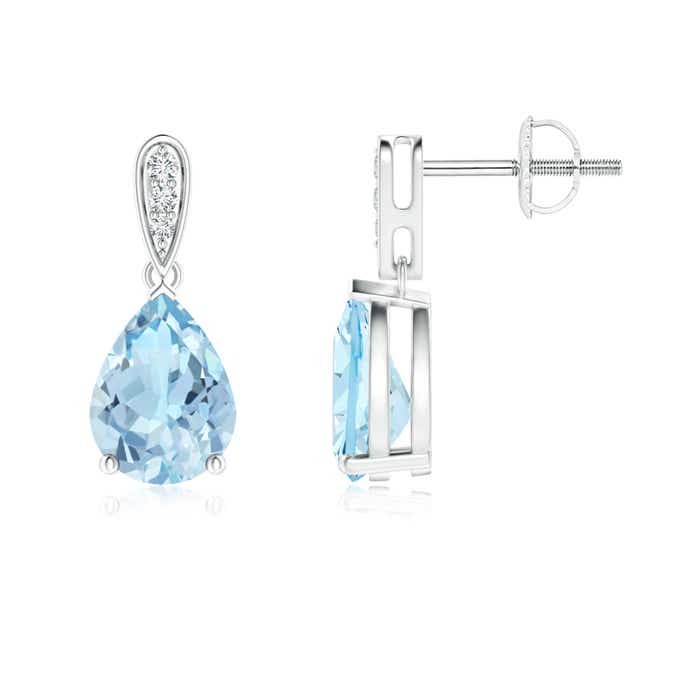 Angara Solitaire Pear Aquamarine Drop Earrings with Diamonds FsZLJDmUsy