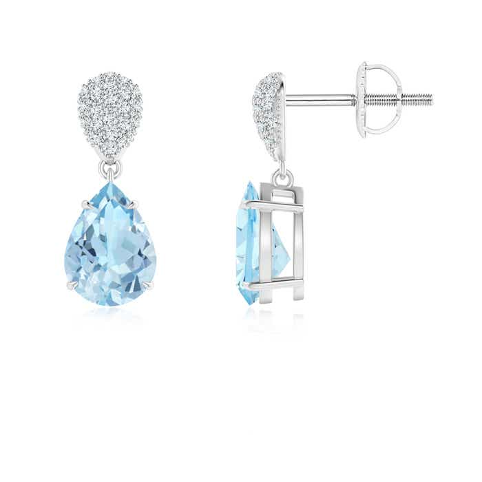 Angara Pear Aquamarine Dangle Earrings with Diamond Halo