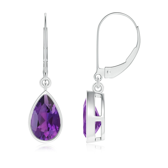 Angara Pear Shaped Amethyst Drop Earrings in Yellow Gold YTbjP70