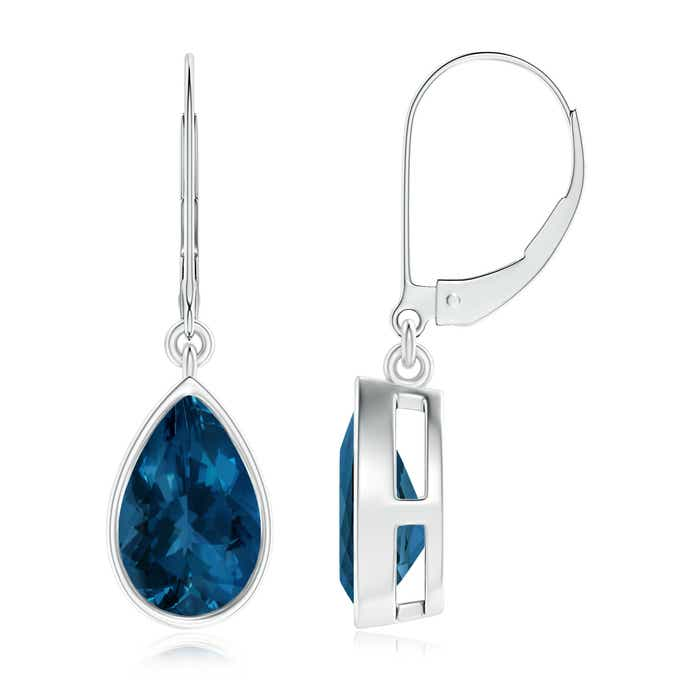 Angara Pear Shaped London Blue Topaz Leverback Drop Earrings in White Gold gOxJJoUF