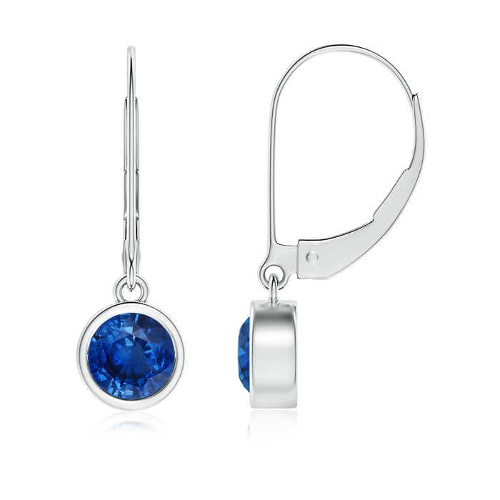 Angara Blue Sapphire Leverback Drop Earrings in Rose Gold O8qKojt