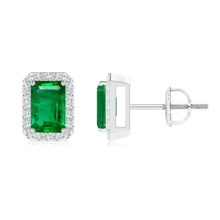 Angara Prong Set Diamond Halo Oval Emerald Stud Earrings in Rose Gold