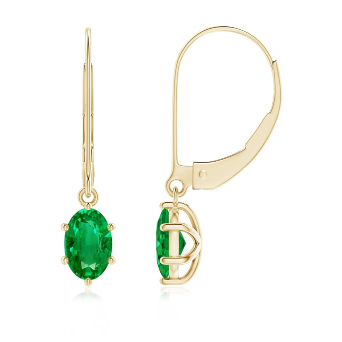 Angara Platinum Emerald Leverback Earrings dGOBRkP