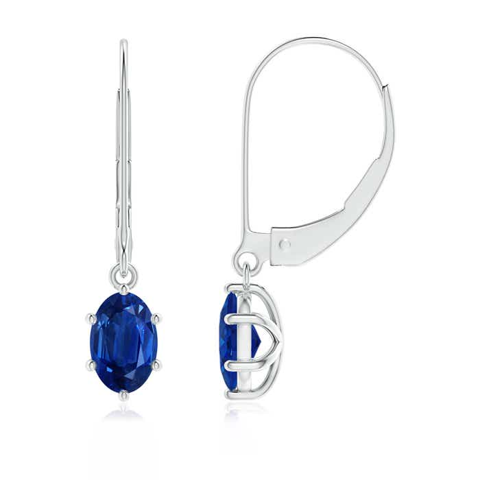 Angara Blue Sapphire Leverback Earrings in Yellow Gold