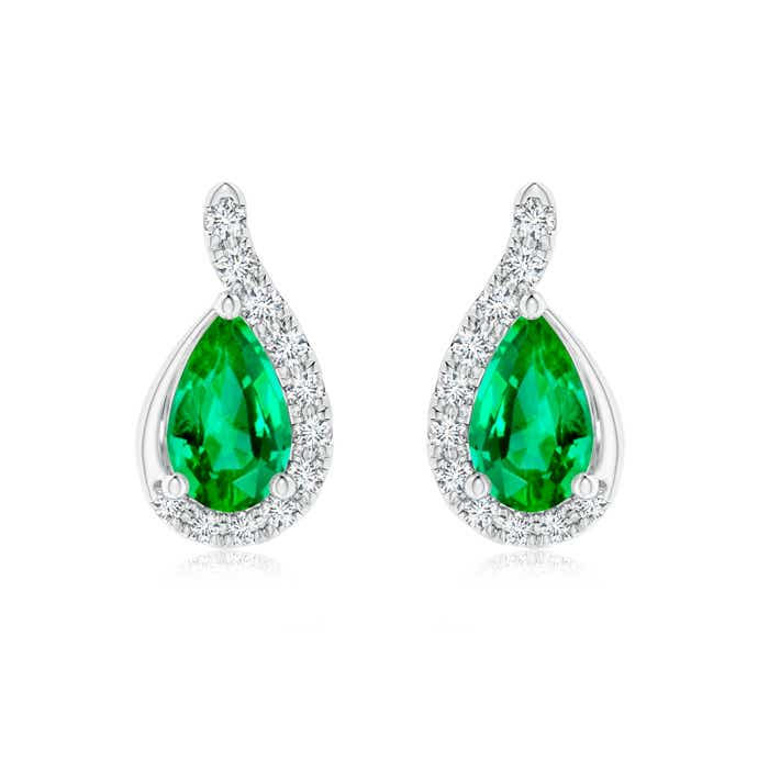 Angara White Gold Pear Shaped Emerald Earrings pDW2Bv