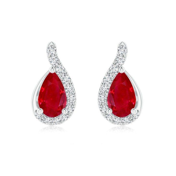 Angara Heart Shaped Ruby Stud Earrings in Yellow Gold orjTJe9i
