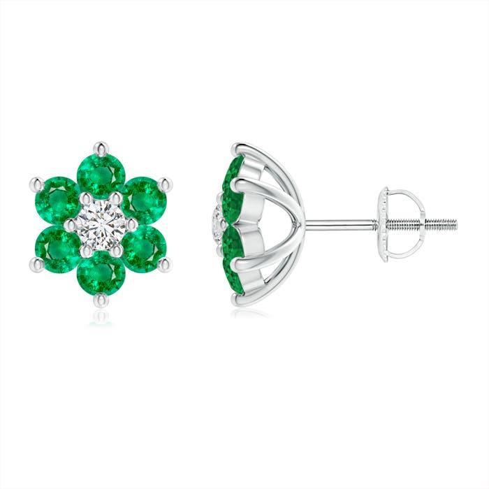 Angara Emerald Flower Stud Earrings in Rose Gold qKRXBDyf3