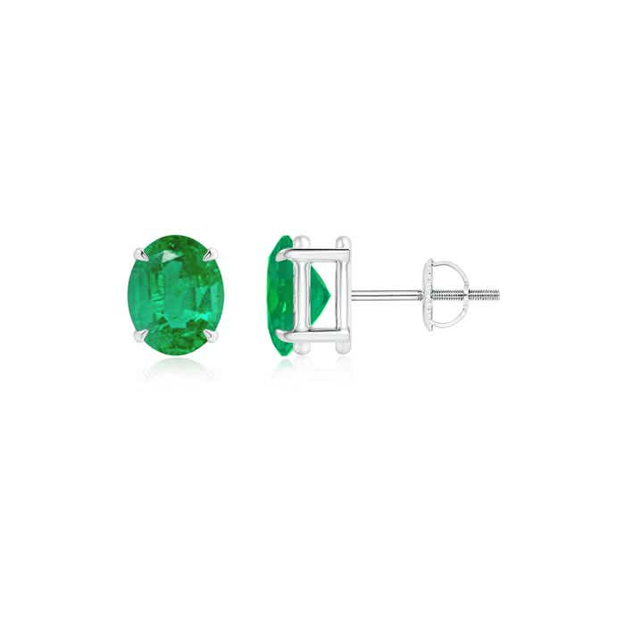 Angara Oval Emerald Diamond Halo Vintage Stud Earrings in White Gold Aprx2FLS
