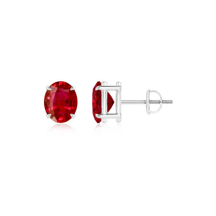 Angara Solitaire Ruby Basket Earrings in Platinum sr9mPD0J