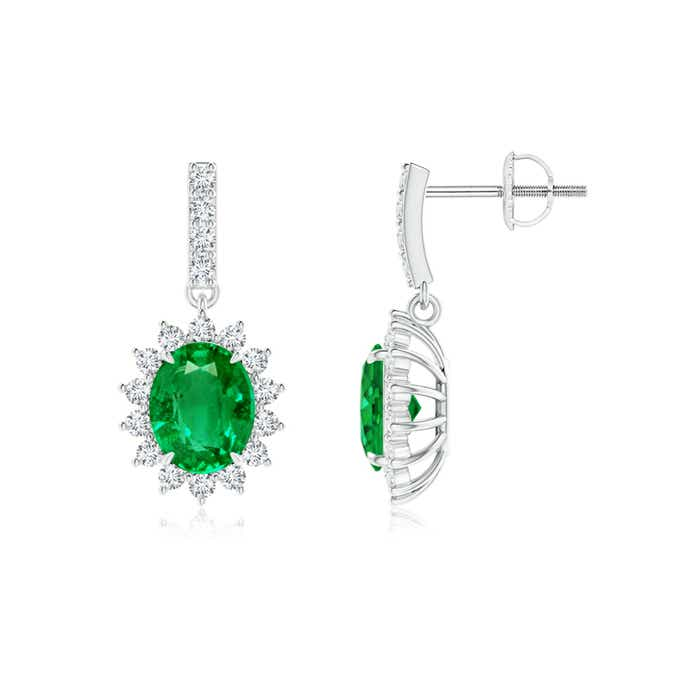 Angara Emerald Dangle Earrings with Floral Diamond Halo wocnwe