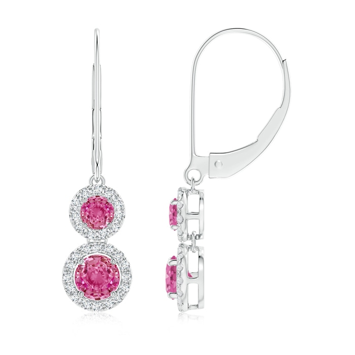 Angara Pink Sapphire and Diamond Leverback Earrings in Rose Gold