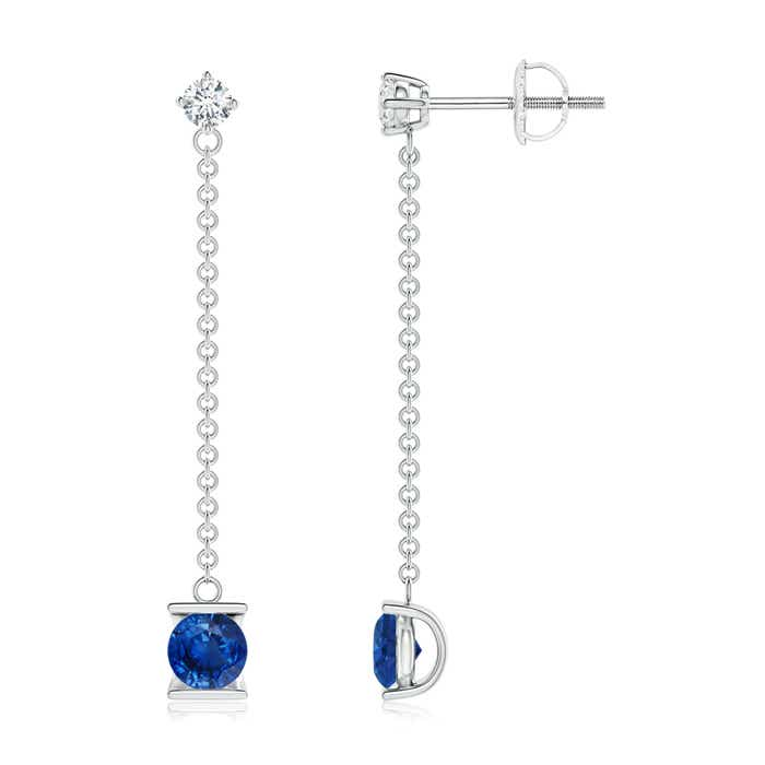Angara Sapphire and Diamond by the Yard Chain Drop Earrings in 14k Rose Gold wHiN5c