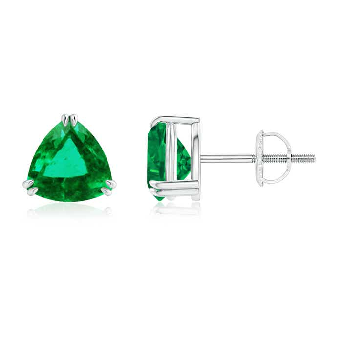 Angara Double Claw-Set Trillion Emerald Stud Earrings GLcgurkac