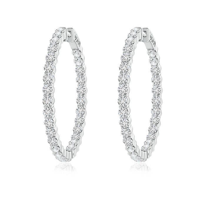Angara Round Sapphire Inside Out Hoop Earrings VXT54