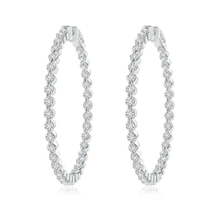 Angara Floating Diamond Inside Out Hoop Earrings in Platinum BzgO7