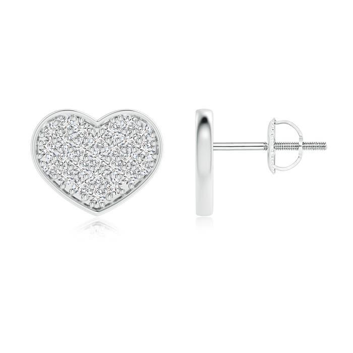 Angara Heart Shaped Diamond Cluster Stud Earrings LOns4r
