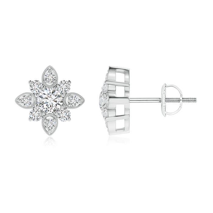Angara Vintage Inspired Round Diamond Flower Stud Earrings GTuGX0