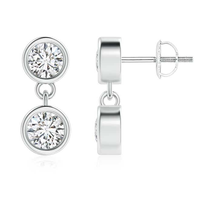 Angara Bezel Set Two Stone Diamond Dangling Earrings in Rose Gold fNQRhA3SK