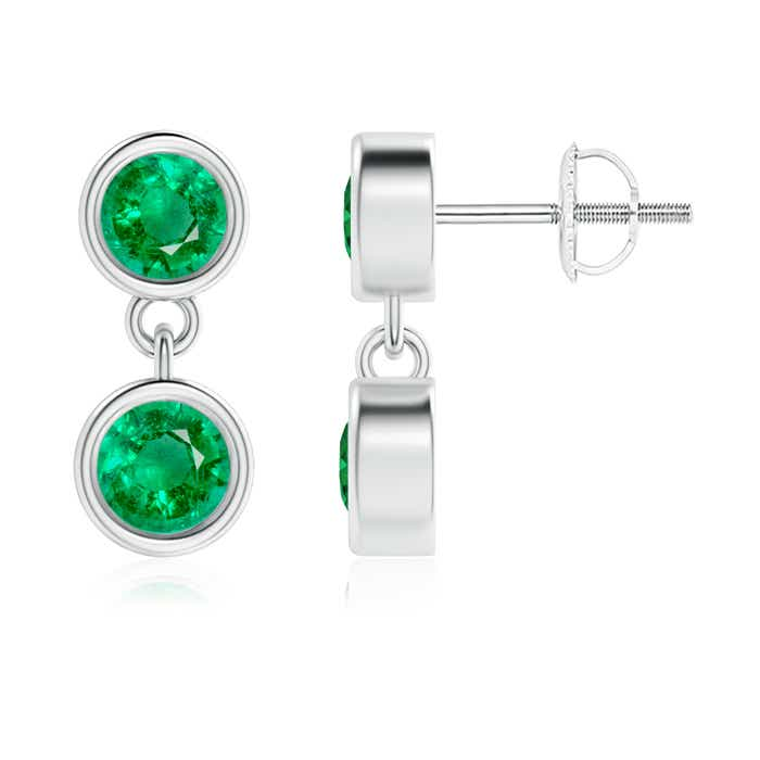 Angara Two Stone Emerald Earrings in Yellow Gold