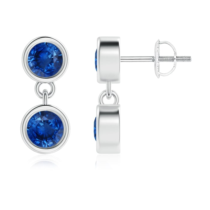 Angara Dangling Two Stone Blue Sapphire Earrings ignpyEo