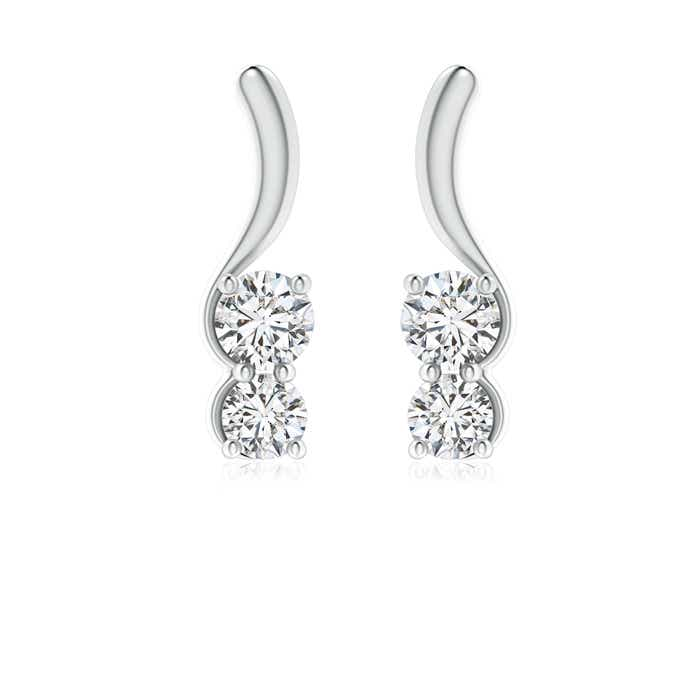Angara Two Diamond Infinity Earrings in White Gold