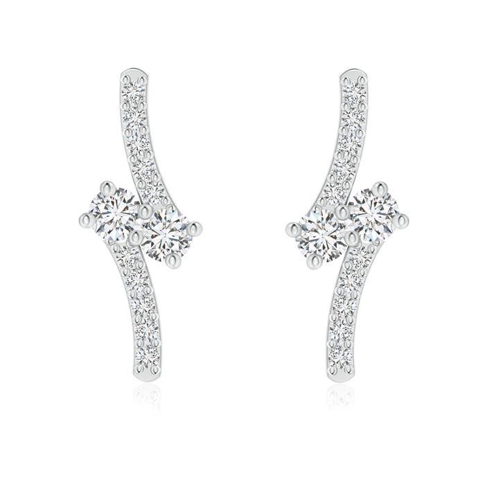 Angara Swirl Two Stone Diamond Infinity Stud Earrings vymel1