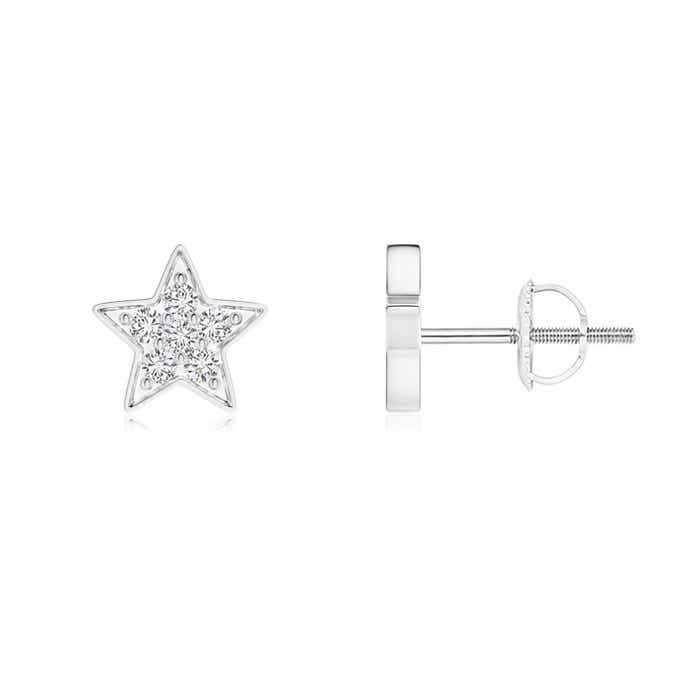 Angara Star Shaped Diamond Cluster Stud Earrings SOSkxemP7h