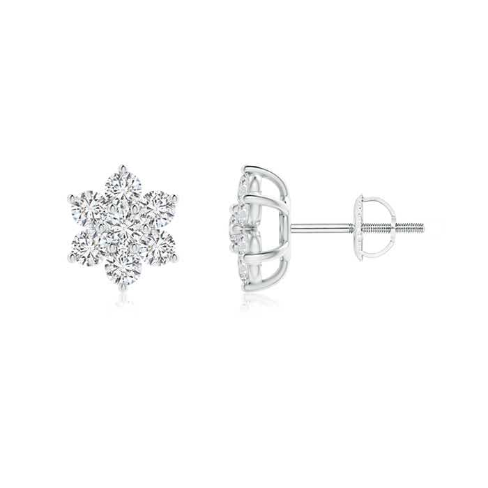 Angara V-Prong Set Pink Sapphire and Diamond Flower Stud Earrings XDKGqOzaih