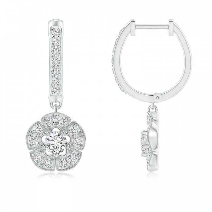 Angara Vintage Inspired Hoop Dangling Diamond Floral Earrings