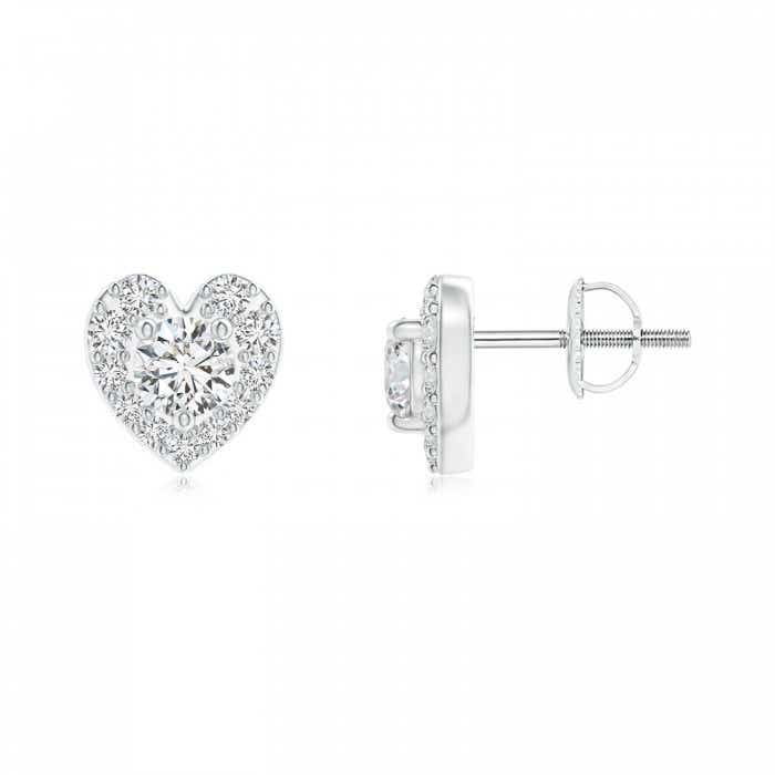 Angara Open Heart Round Diamond Stud Earrings in White Gold