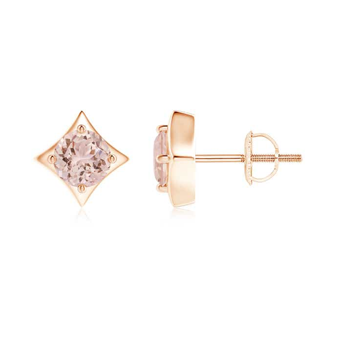 Angara Martini Setting Round Morganite Stud Earrings in Platinum ES1BonnLRq