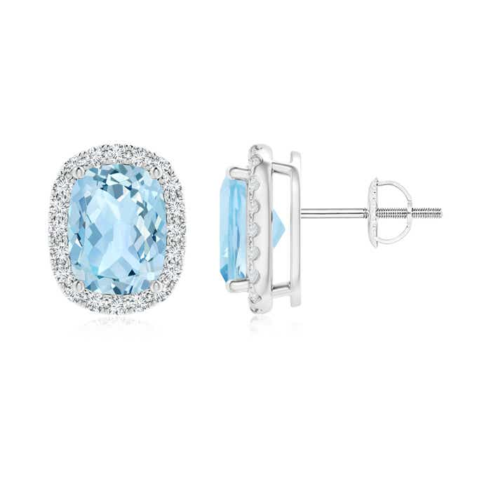 Angara Prong Set Aquamarine Studs in Platinum WCTNwS8H