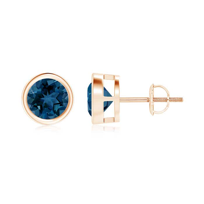 Angara Unique Two Prong-Set London Blue Topaz Stud Earrings BukBKfeUB