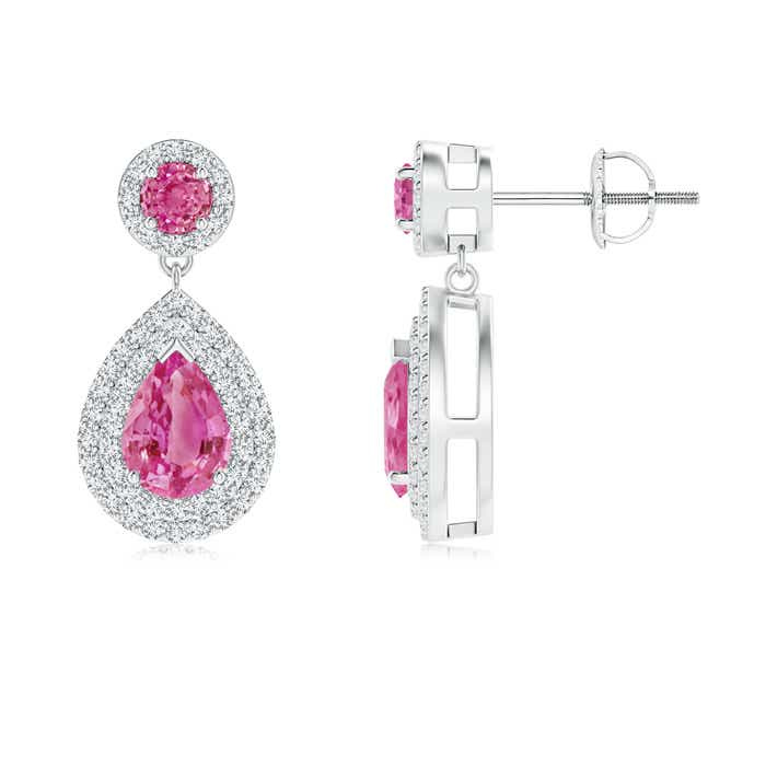 Angara Pear Pink Sapphire Drop Earrings with Diamond Halo E6guTey