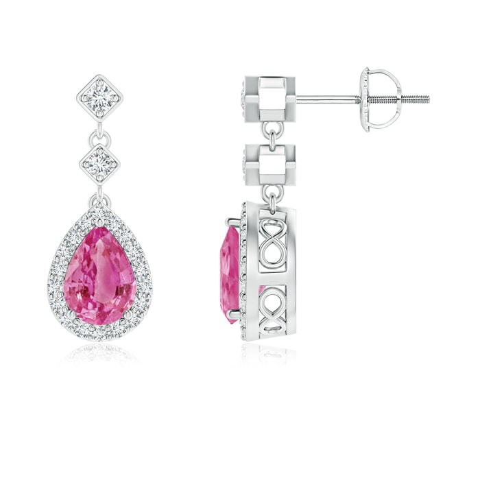 Angara Pear Sapphire Earrings in Rose Gold anVlJXgA2
