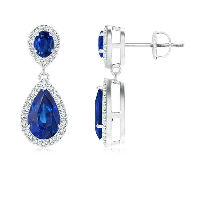Angara Oval and Pear Blue Sapphire Drop Earrings with Diamond Halo 7okyz9A