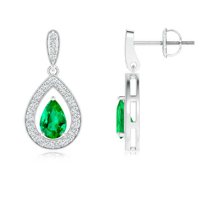 Angara Pear Natural Emerald and Diamond Drop Earrings in Yellow Gold pPzGu1eclg