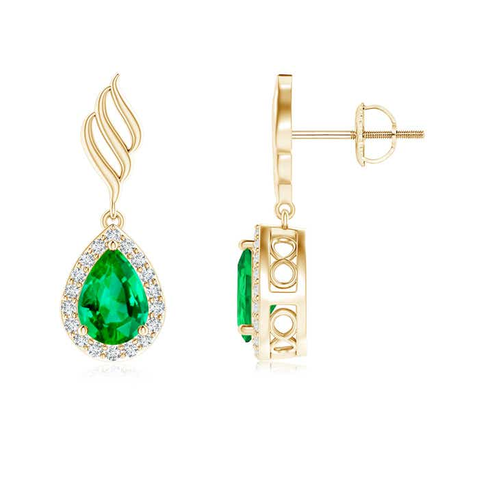 Angara Teardrop Emerald Earrings in Yellow Gold