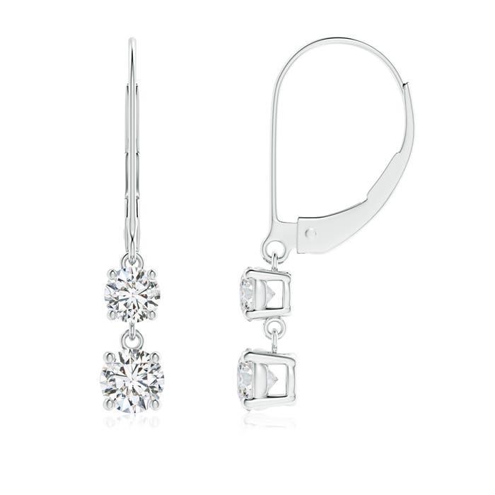 Angara Dangling Two Stone Diamond Earrings in White Gold 9MSU6L