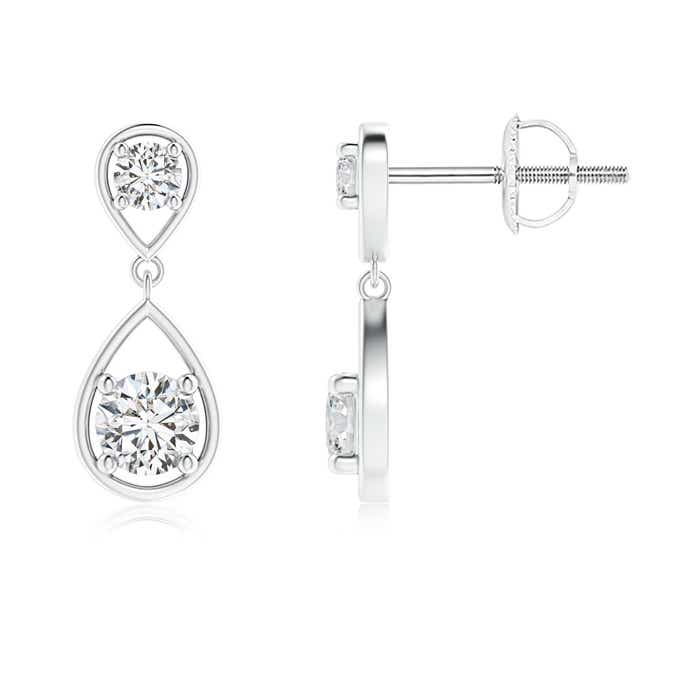 Angara Two Stone Diamond Drop Earrings in Yellow Gold WdEKp
