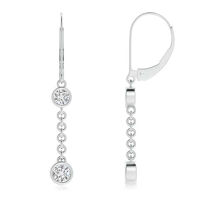 Angara Bezel Set 2-Stone Diamond Dangling Earrings in Platinum nItO3C