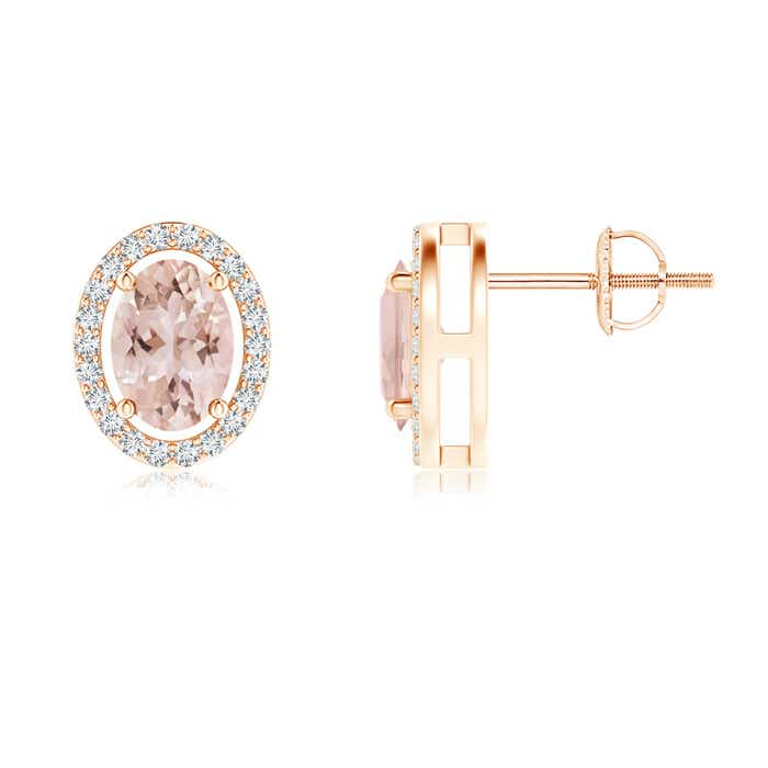 Angara Oval Morganite Studs with Diamond Halo in Yellow Gold QkSqQn