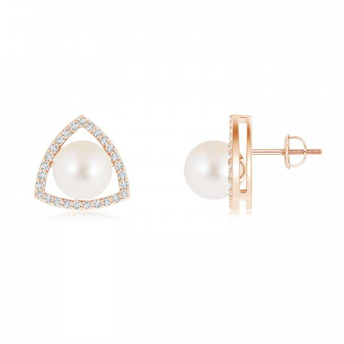 Angara Freshwater Cultured Pearl Half Moon Earrings with Diamonds